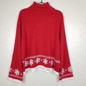 220 Hickory Red Turtleneck Snowflake Xmas Sweater